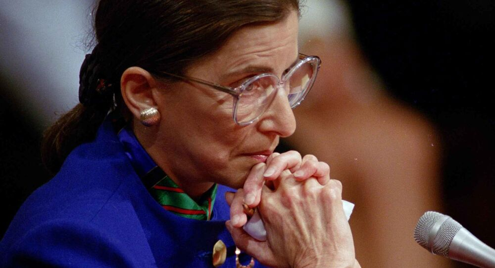 Supreme Court nominee Ruth Bader Ginsburg pauses while testifying before the Senate Judiciary Committee on Tuesday, 20 July 1993 on Capitol Hill in Washington