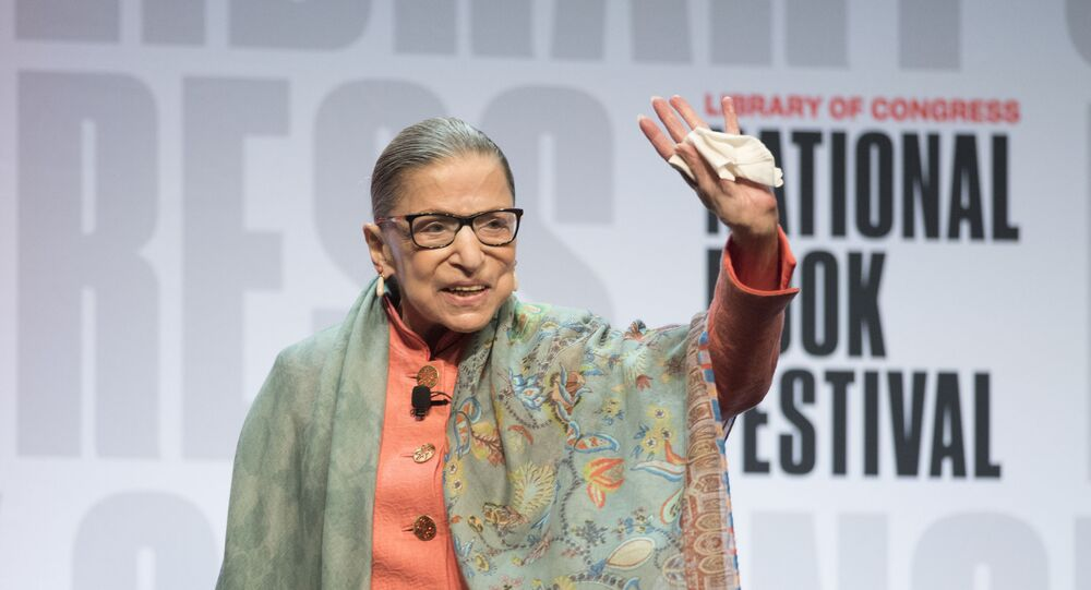 Supreme Court Associate Justice Ruth Bader Ginsburg waves to the audience after speaking at the Library of Congress National Book Festival in Washington, Saturday, Aug. 31, 2019