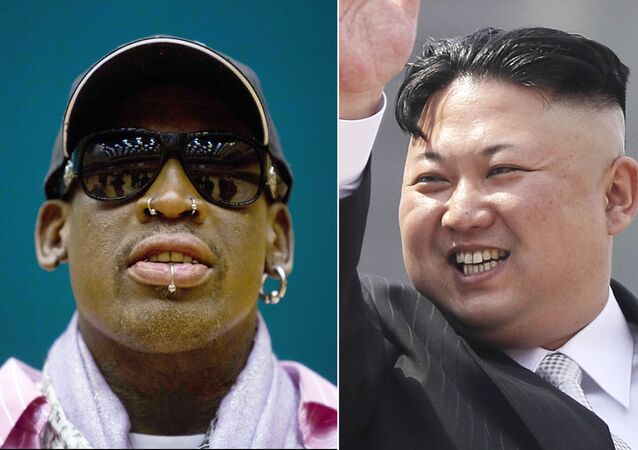 This combination of file photos shows former NBA basketball star Dennis Rodman in Pyongyang, North Korea on Dec. 20, 2013, left, and North Korean leader Kim Jong Un in Pyongyang on April 15, 2017
