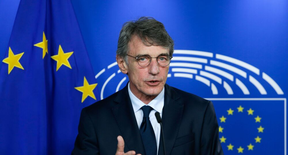 European Parliament President David Sassoli gives a news conference following his meeting with Head of EU task Force for Relations with United Kingdom, in Brussels, Belgium September 8, 2020.