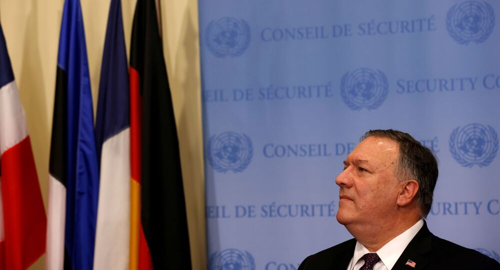 U.S. Secretary of State Mike Pompeo speaks to reporters following a meeting with members of the U.N. Security Council about Iran's alleged non-compliance with a nuclear deal and calling for the restoration of sanctions against Iran at U.N. headquarters in New York, U.S., August 20, 2020
