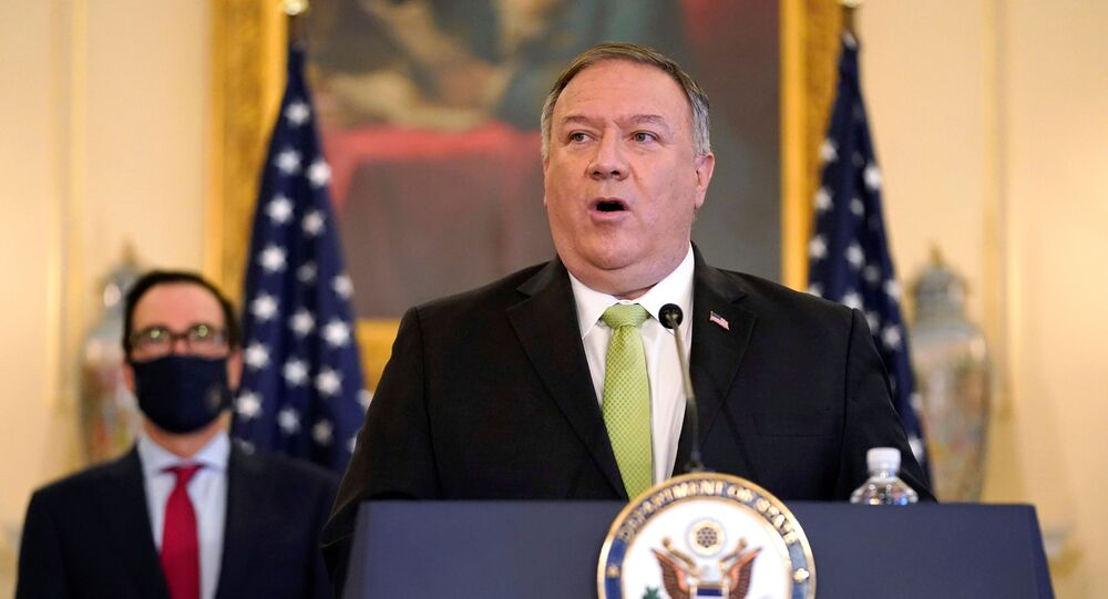 U.S. Secretary of State Mike Pompeo speaks during a news conference to announce the Trump administration's restoration of sanctions on Iran, at the U.S. State Department in Washington, U.S., September 21, 2020.
