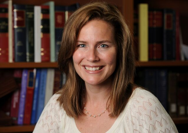 U.S. Court of Appeals for the Seventh Circuit Judge Amy Coney Barrett, a law professor at Notre Dame  University, poses in an undated photograph obtained from Notre Dame University September 19, 2020.