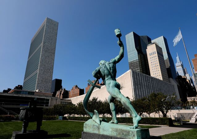 The United Nations headquarters is seen from the North sculpture garden during the 75th annual U.N. General Assembly high-level debate, which is being held mostly virtually due to the coronavirus disease (COVID-19) pandemic in New York, U.S., September 21, 2020.