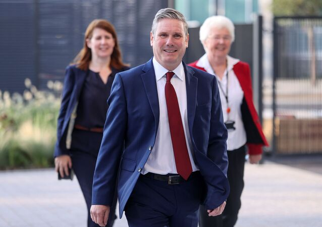 Britain's opposition Labour Party leader Sir Keir Starmer arrives in Doncaster to give his keynote speech to the virtual Labour conference on 22 September 2020.