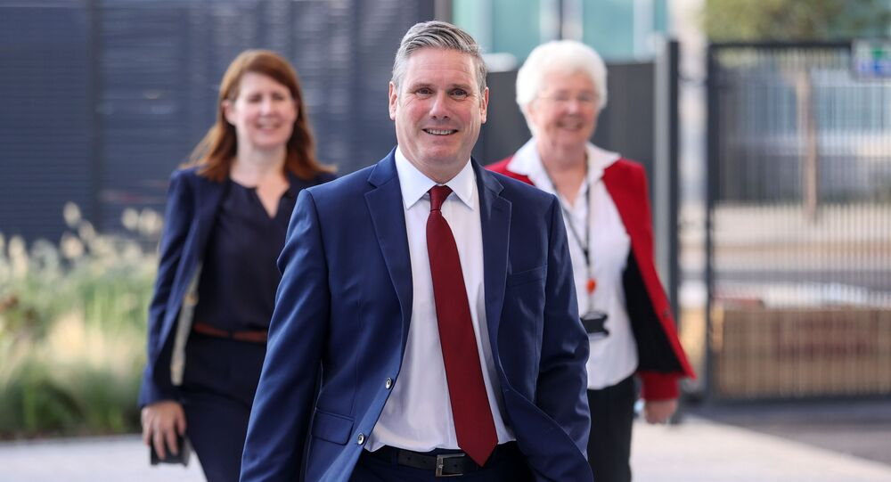 Britain's opposition Labour Party leader Keir Starmer arrives in Doncaster to give his keynote speech at the virtual Labour conference.