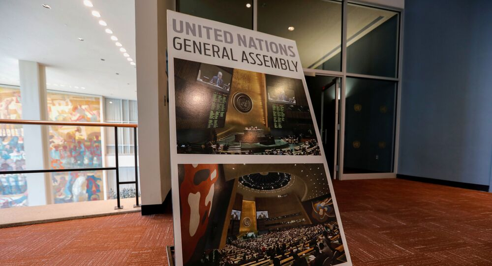 The General Assembly Hall at United Nations headquarters