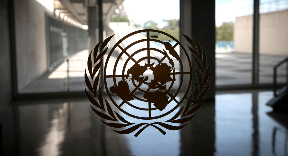 The United Nations logo is seen on a window in an empty hallway at United Nations headquarters during the 75th annual U.N. General Assembly high-level debate, which is being held mostly virtually due to the coronavirus disease (COVID-19) pandemic in New York, U.S., September 21, 2020
