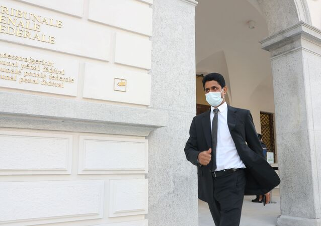 Chairman of Qatar-based media group BeIN Sports, Nasser Al-Khelaifi leaves the Swiss Federal Criminal Court (Bundesstrafgericht) in Bellinzona, Switzerland September 14, 2020.