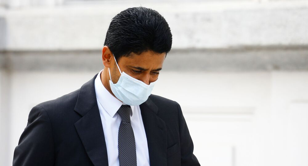 Chairman of Qatar-based media group BeIN Sports, Nasser Al-Khelaifi arrives in front of the Swiss Federal Criminal Court (Bundesstrafgericht) in Bellinzona, Switzerland September 14, 2020.