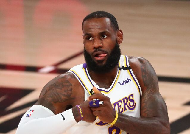 Sep 8, 2020; Lake Buena Vista, Florida, USA; Los Angeles Lakers forward LeBron James (23) reacts during the first half of game three in the second round of the 2020 NBA Playoffs against the Houston Rockets at AdventHealth Arena.