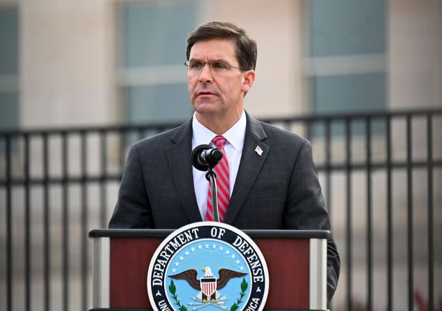 U.S. Defense Secretary Mark Esper gives remarks during the 19th annual September 11 observance ceremony at the Pentagon in Arlington, Virginia, U.S., September 11, 2020.