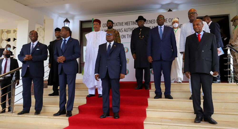 Heads of state of the Economic Community of West African States (ECOWAS) pose after a consultative meeting in Accra, Ghana September 15, 2020.