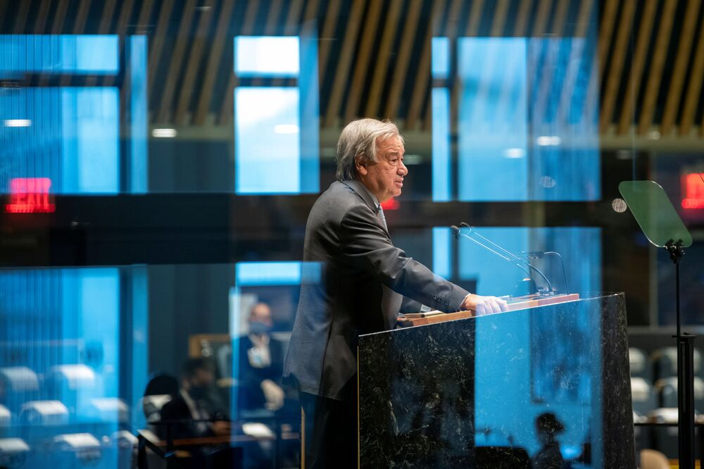 UN Secretary-General Antonio Guterres was among very few top officials to actually deliver a speech at the UN headquarters rather than distantly.