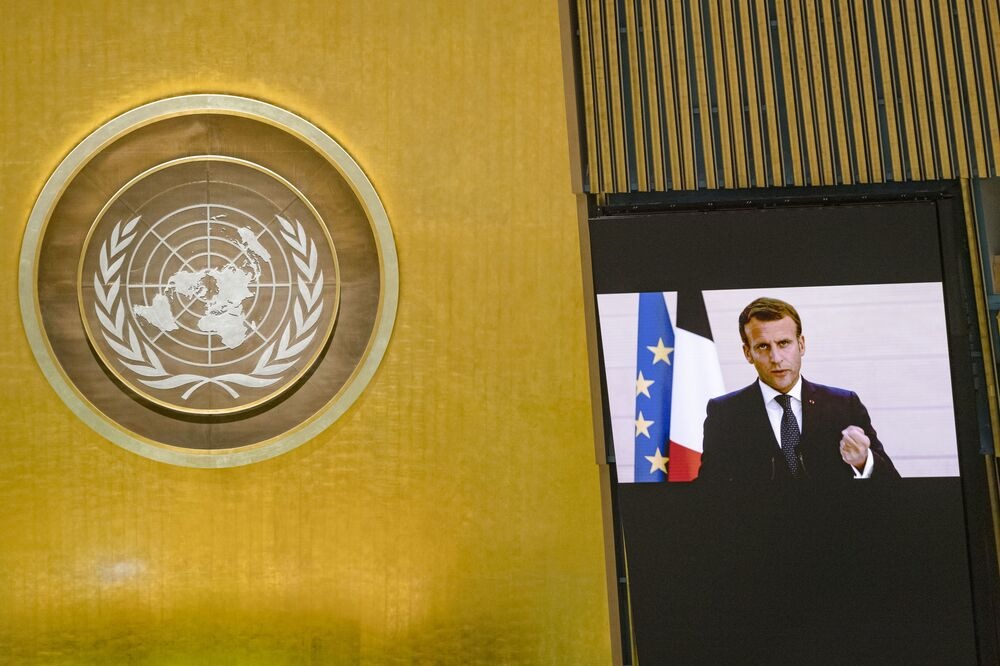 French President Emmanuel Macron holding the virtual floor at the 75th UN General Assembly.