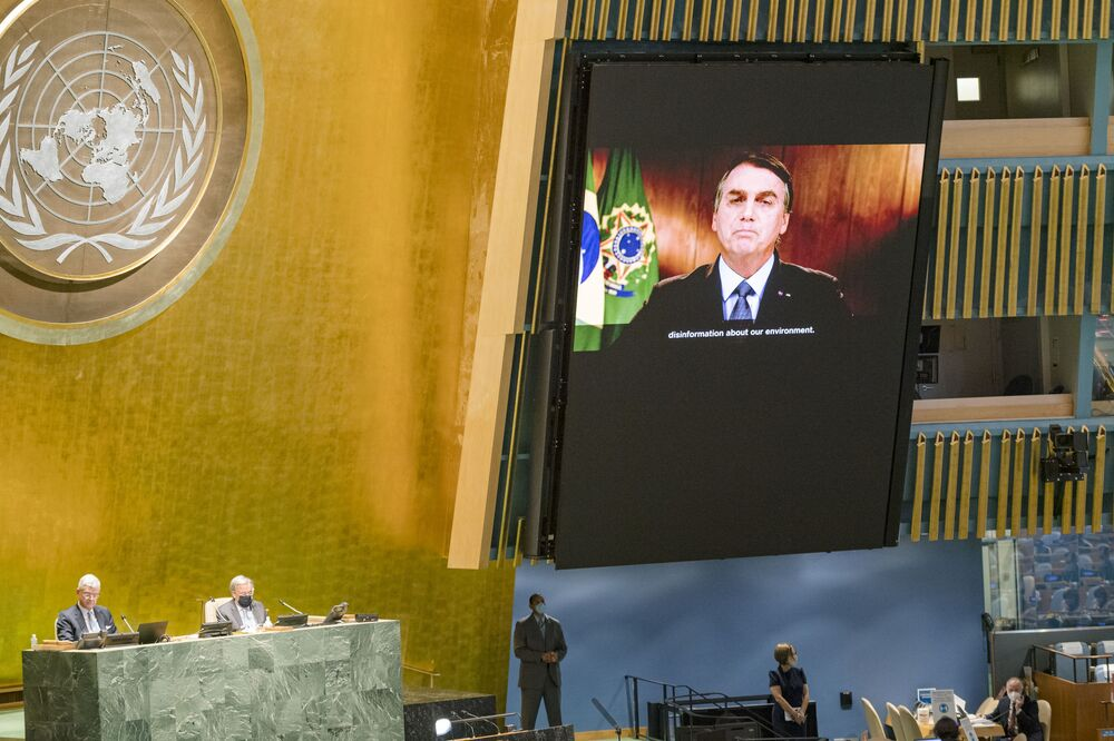 Brazilian President Jair Bolsonaro delivering remarks at the UN General Assembly.