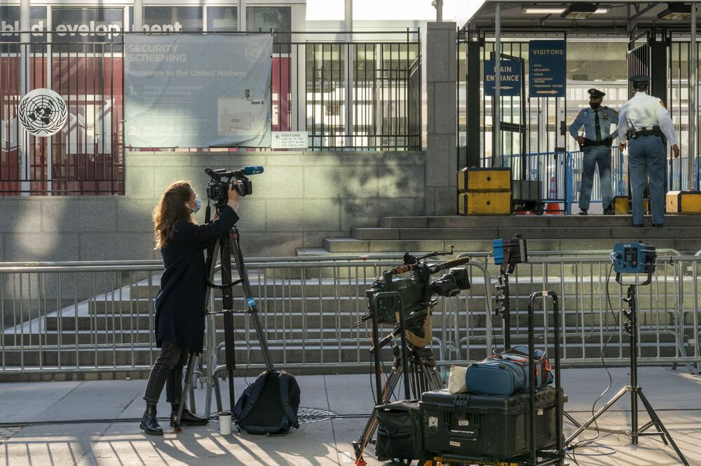 A video-operator working at the UN General Assembly.