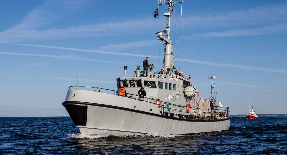 Danish home guard vessel MHV 903 Hjortø, Danish rescue cruiser SAR Leopold Rosenfeldt in the background