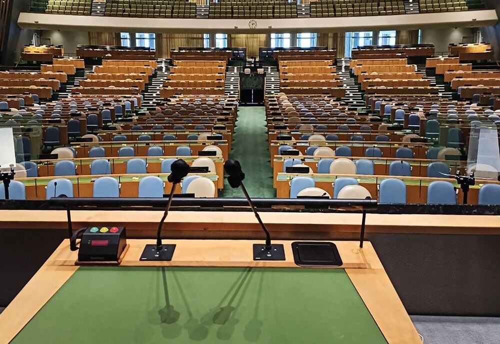A view from inside the UN headquarters.
