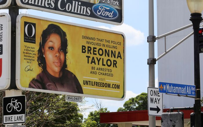 One of 26 billboards, sponsored by Oprah Winfrey's O, The Oprah Magazine, calling for criminal charges against police officers in the killing of Breonna Taylor,