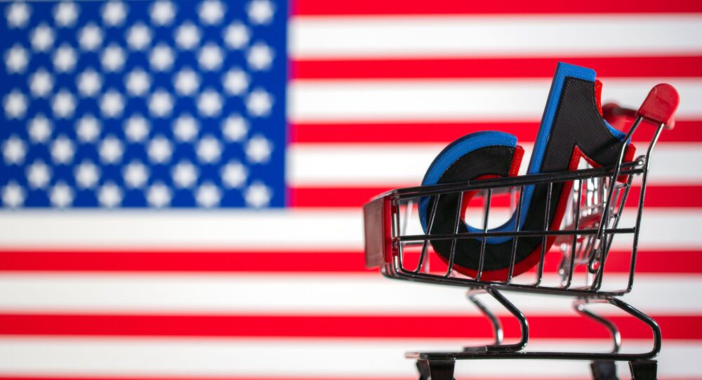 A shopping cart carrying a 3D printed TikTok logo is seen in front of displayed US flag