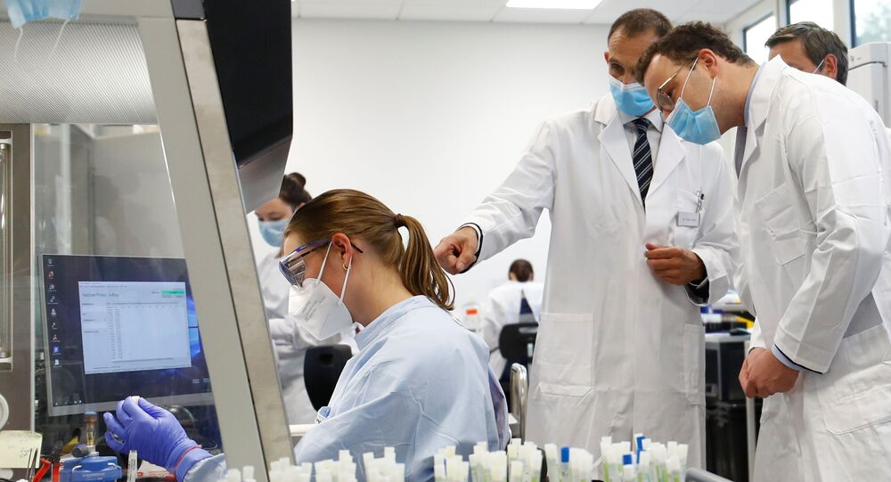 German Health Minister Jens Spahn looks on during a visit at a laboratory of the Bioscientia Healthcare as the spread of the coronavirus disease (COVID-19) continues in Ingelheim, Germany, September 22, 2020.