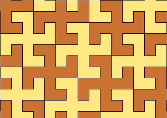 Tiling of the plane using equal swastikas in two alternating colours.