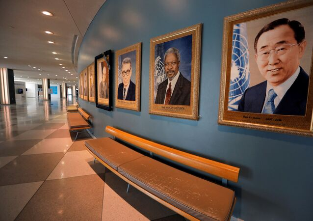 Portraits of former United Nations Secretary-Generals are seen in the empty arrivals hall at U.N. headquarters during the 75th annual U.N. General Assembly high-level debate, which is being held mostly online because of the coronavirus disease (COVID-19) outbreak in New York, U.S., 22 September ]2020.