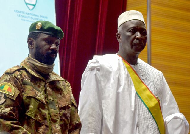 The new interim president of Mali Bah Ndaw attends the Inauguration ceremony with the Malian new vice president Colonel Assimi Goita in Bamako, Mali September 25, 2020.
