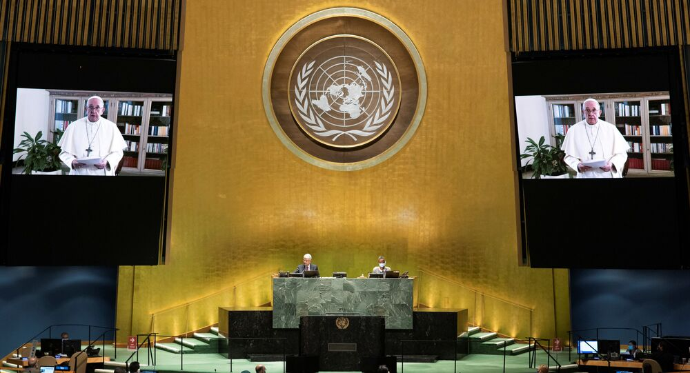 Pope Francis speaks virtually during the 75th annual U.N. General Assembly, which is being held mostly virtually due to the coronavirus disease (COVID-19) pandemic in the Manhattan borough of New York City, New York, U.S., September 25, 2020.