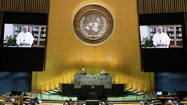 Pope Francis speaks virtually during the 75th annual U.N. General Assembly, which is being held mostly virtually due to the coronavirus disease (COVID-19) pandemic in the Manhattan borough of New York City, New York, U.S., September 25, 2020. - Sputnik International
