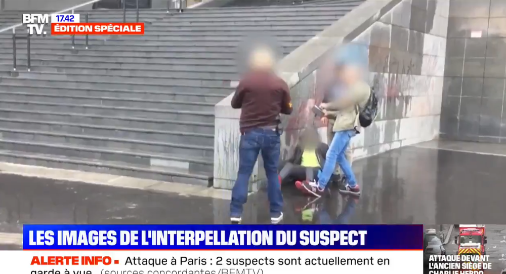 The arrest of main suspect of a stabbing attack in Paris on 25 September, 2020.