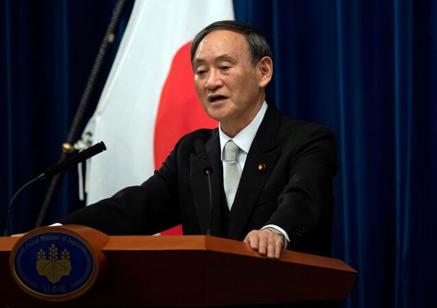 Yoshihide Suga speaks during a news conference following his confirmation as Prime Minister of Japan in Tokyo, Japan September 16, 2020.