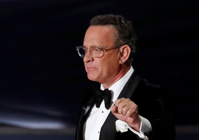 Tom Hanks makes the Academy Museum 2020 opening announcement at the Oscars show during the 92nd Academy Awards in Hollywood, Los Angeles, California, U.S., February 9, 2020