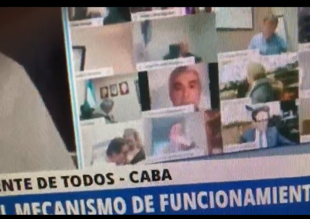 A screenshot from a video of Argentinian lawmaker Juan Ameri kissing his girlfriend's breast during an online Congress session on 25.09.2020.