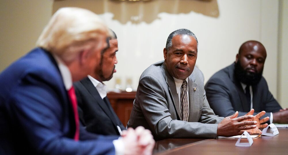 U.S. President Donald Trump listens to Secretary of Housing and Urban Development Ben Carson as he meets with Carson and other conservative black supporters in the Cabinet Room at the White House in Washington, U.S., June 10, 2020.