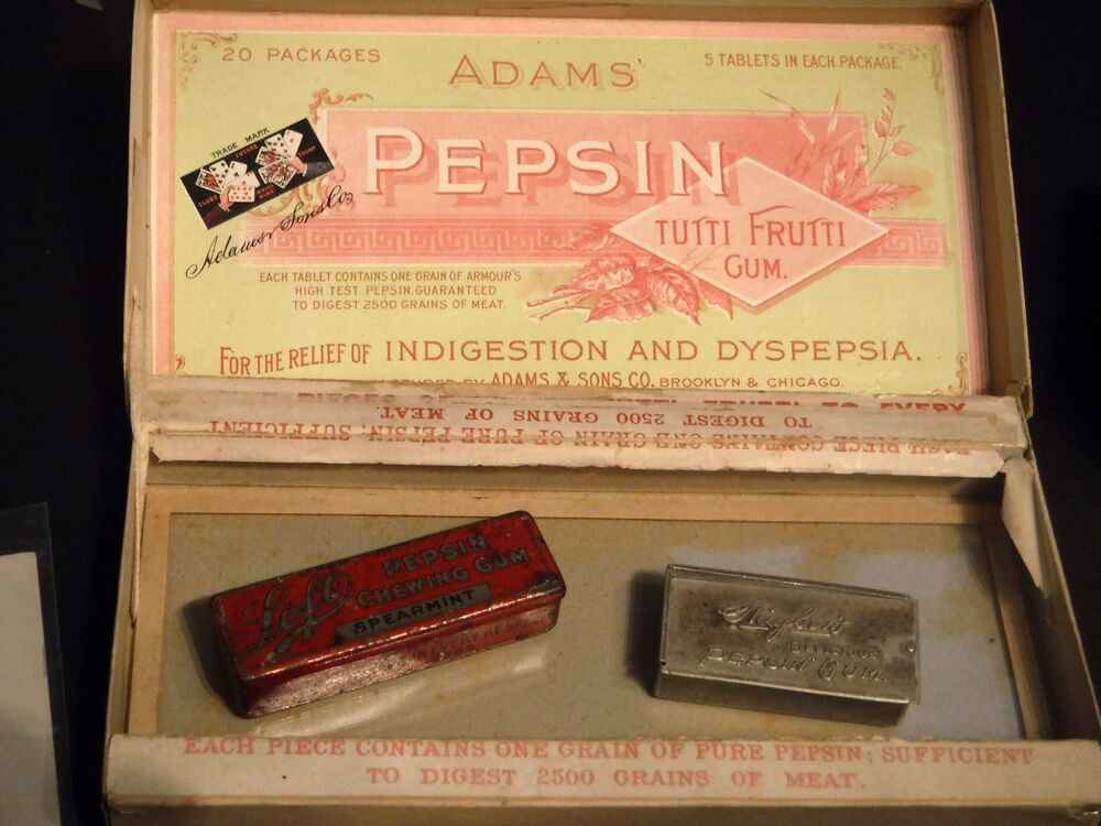 Adams Pepsin Tutti Frutti Gum, chewing gum packaging and gum, For relief of indigestion and dsypepsia.