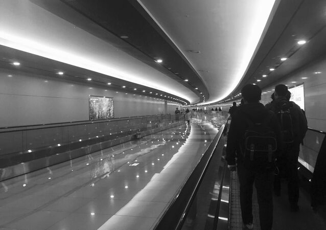 Passengers walking in Gimpo airport in Seoul, South Korea