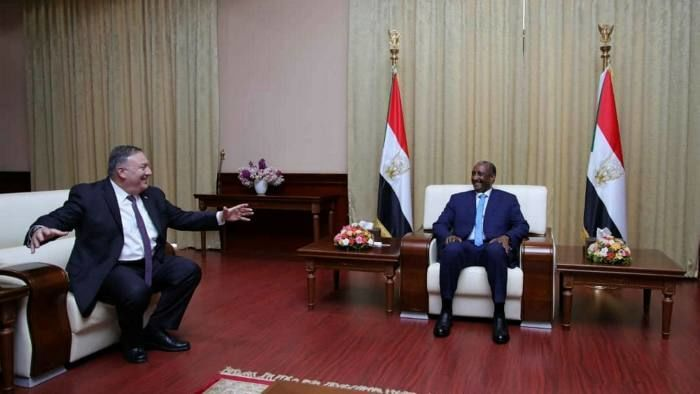 US Secretary of State Mike Pompeo left with General Abdel Fattah al Burhan on his trip to Sudan in August 2020