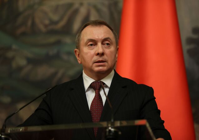 Belarusian Foreign Minister Vladimir Makei speaks during a news conference following talks with his Russian counterpart Sergei Lavrov in Moscow, Russia September 2, 2020.