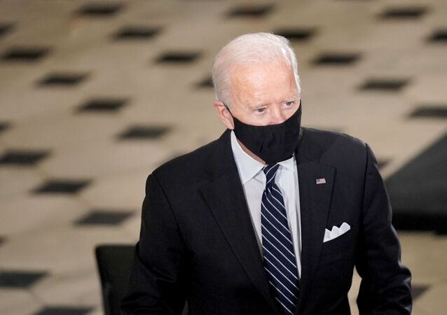 U.S. Democratic Presidential Candidate Joe Biden arrives for a ceremony where U.S. Supreme Court Associate Justice Ruth Bader Ginsburg's flag-draped casket will lie in state in Statuary Hall at the Capitol, Washington, U.S. on September 25, 2020.