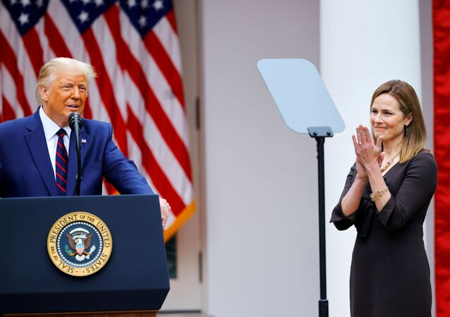 U.S President Donald Trump holds an event to announce his nominee of U.S. Court of Appeals for the Seventh Circuit Judge Amy Coney Barrett to fill the Supreme Court seat left vacant by the death of Justice Ruth Bader Ginsburg, who died on September 18, at the White House in Washington, U.S., September 26, 2020