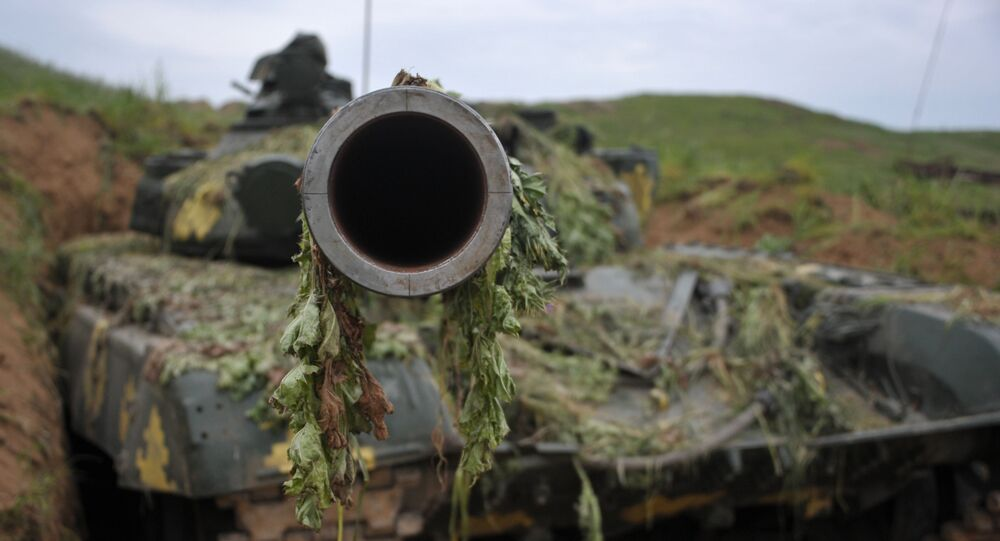 A T-64 tank of the Nagorno-Karabakh Defense Army on the first line of defense.