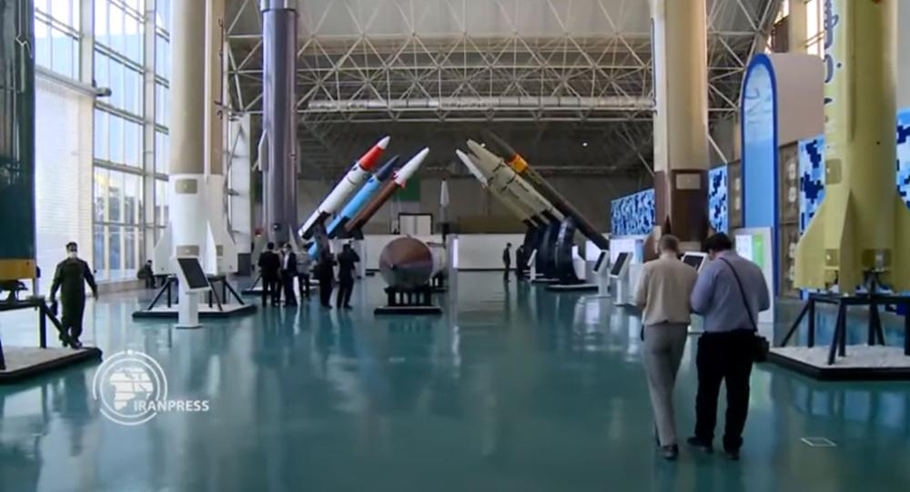 Screengrab of Iranian media report on opening of National Aerospace Park in Tehran.