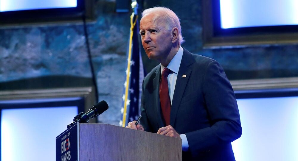 U.S. Democratic presidential candidate and former Vice President Joe Biden speaks to reporters after delivering a speech on the U.S. Supreme Court at the Queen Theater in Wilmington, Delaware, U.S., September 27, 2020
