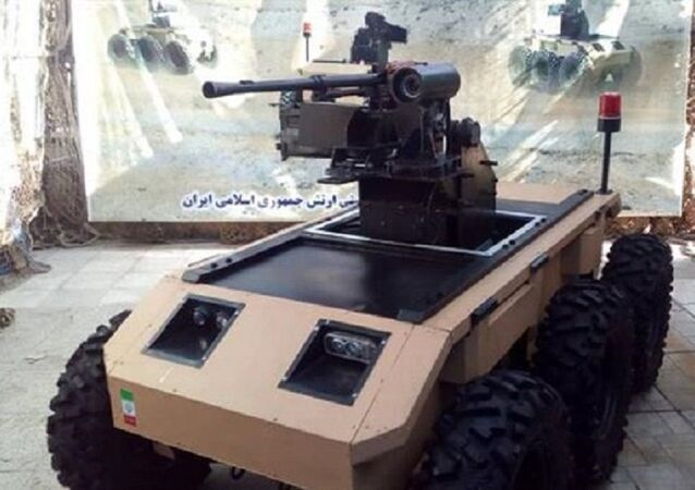 The Caracal military robot is put on display during a ceremony in Tehran on September 27, 2020