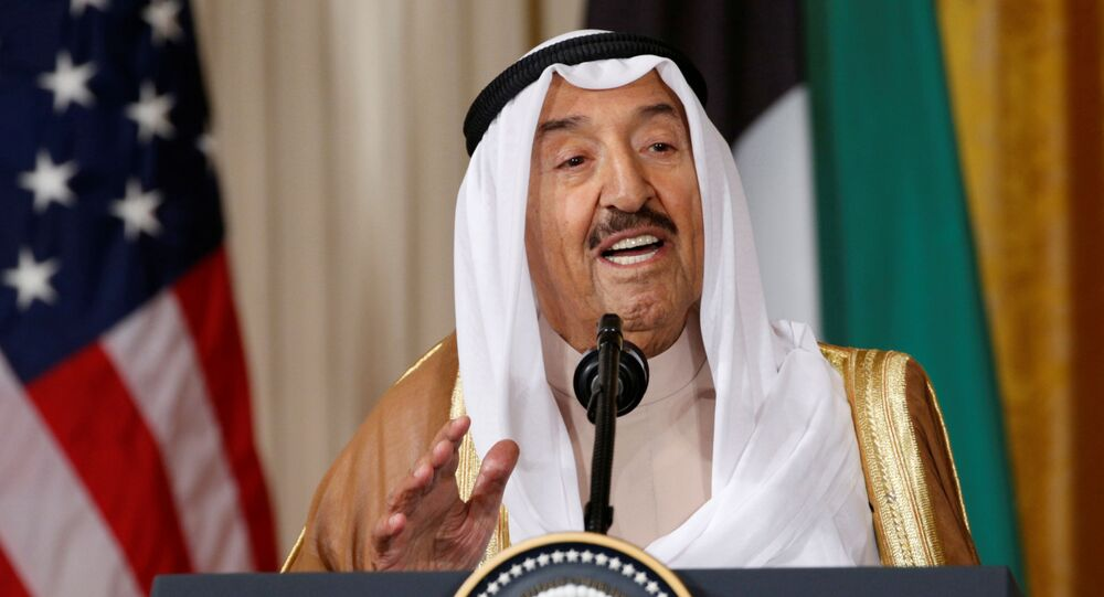 FILE PHOTO: Kuwait's Emir Sheikh Sabah Al-Ahmad Al-Jaber Al-Sabah  addresses a joint news conference with U.S. President Donald Trump in the East Room of the White House in Washington, U.S., September 7, 2017