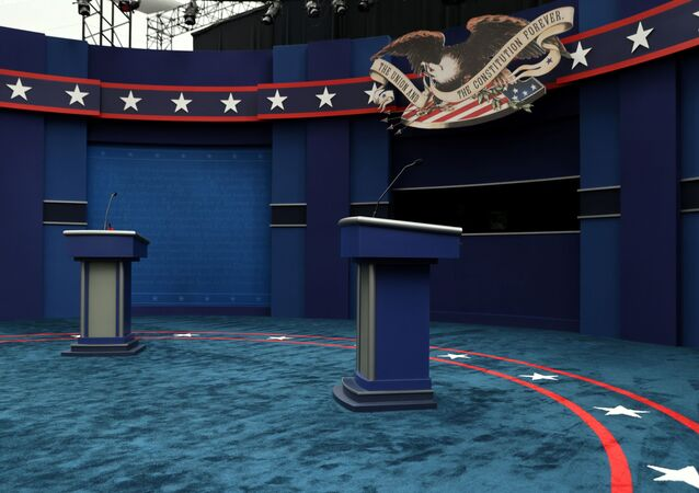 The stage awaits U.S. President Donald Trump and Democratic U.S. presidential nominee and former Vice President Joe Biden before their first presidential debate on the campus of the Cleveland Clinic in Cleveland, Ohio, U.S. September 29, 2020.