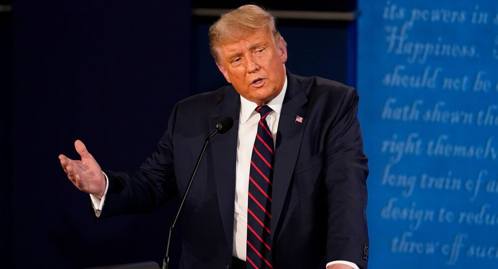U.S. President Donald Trump participates in the first 2020 presidential campaign debate with Democratic presidential nominee Joe Biden (not pictured), held on the campus of the Cleveland Clinic at Case Western Reserve University in Cleveland, Ohio, U.S., September 29, 2020.