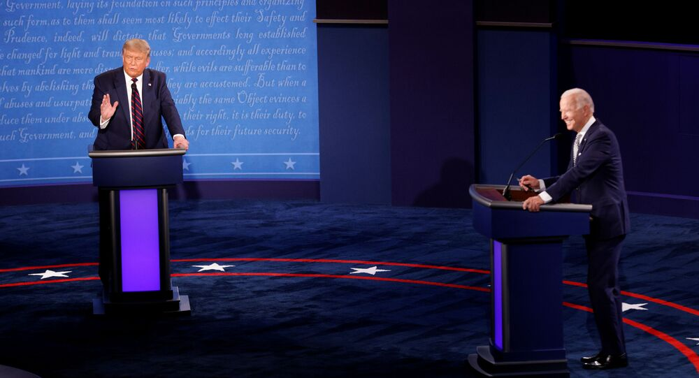 U.S. President Donald Trump and Democratic presidential nominee Joe Biden participate in their first 2020 presidential campaign debate held on the campus of the Cleveland Clinic at Case Western Reserve University in Cleveland, Ohio, U.S., September 29, 2020.